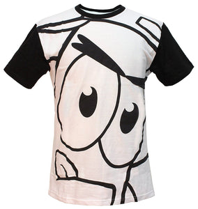 "Spongebob Squarepants ""Patrick Star Up Close"" Men's T-Shirt, Black & White"