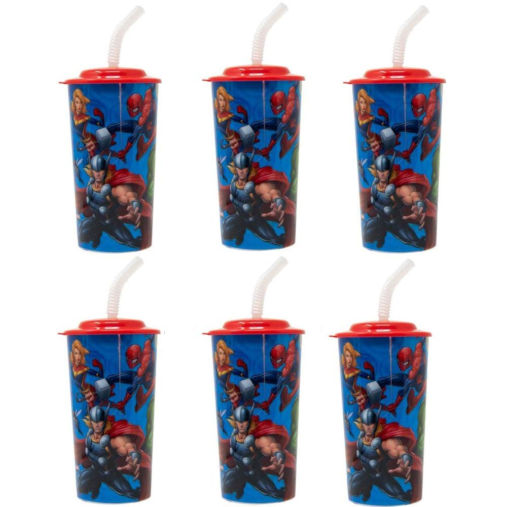 6-Pack Marvel Avengers 16oz Reusable Sports Tumbler Drink Cups with Lids & Straws, BPA-Free