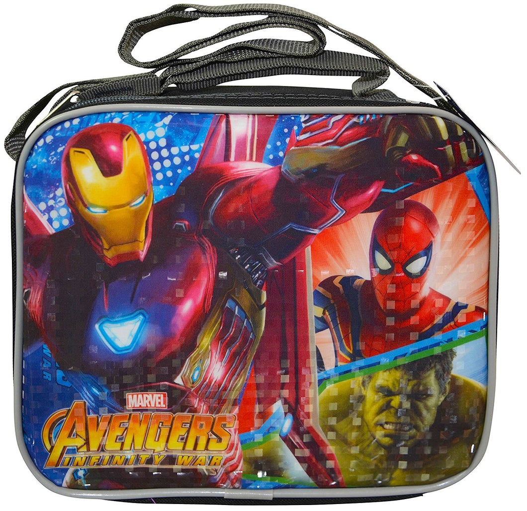Marvel Avengers Soft Rectangle Prism Effect Lunch Bag with Padded Top Handle And Adjustable Shoulder Strap