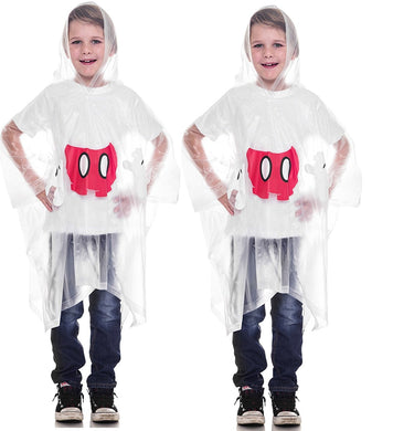 [2-Pack] Disney Mickey or Minnie Mouse Body Parts Youth Rain Poncho with Hood