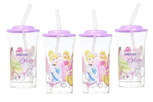 [4-Pack] Disney Princess 16oz Sports Tumbler Cups with Pink Lids & Flex Straws