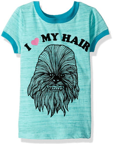 "Star Wars Girls' ""Fuzzy"" Chewbacca ""I Love My Hair"" Ringer Retro Style T-Shirt"
