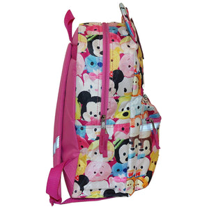 "Disney TSUM TSUM 16"" Backpack with Pink Glitter Bow and Adjustable Straps"
