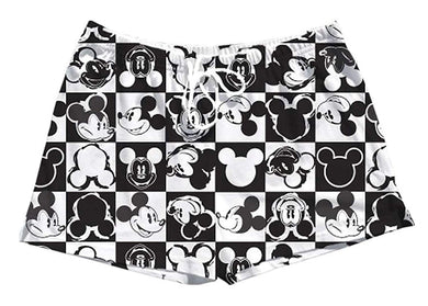 Disney Classic Mickey Mouse Juniors Pajama Shorts Black & White Checker Print