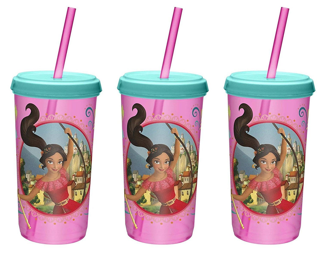3-Pack Disney Elena of Avalor 13oz Tumbler Drink Cups with Lids & Straws