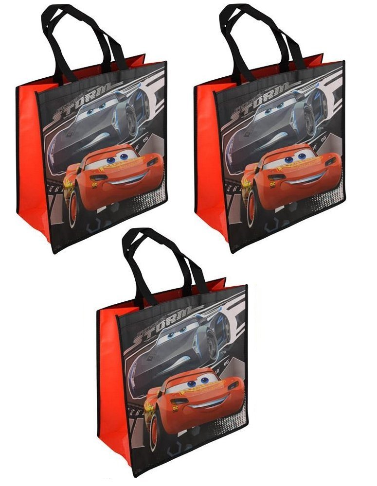 Disney-Pixar Cars 3 Large 15.5-inch Reusable Shopping Tote or Gift Bag, 3-Pack
