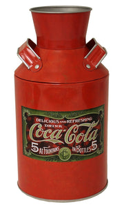 "Classic Coca-Cola Vintage Replica 4-1/4 x 8"" Red Tin Milk Can"