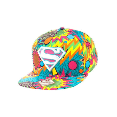 DC Comics Superman Retro 1980s Colors Explosion Adult Snapback Baseball Hat