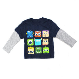 Disney-Pixar Character Cubicle Faces Long-Sleeve Infant T-Shirt, Navy Heather