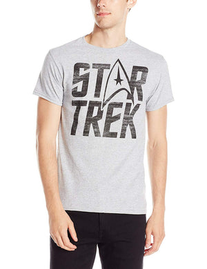 Star Trek Classic Logo Men's Trekkie T-Shirt, Light Gray