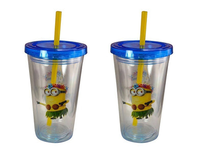 2-Pack Minions Hula Dancer Kids 12oz Double Wall Fun Sip Tumbler with Lid & Straw