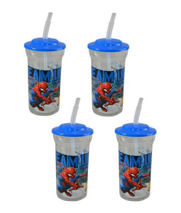 "4-Pack Marvel's Spider-Man ""Team Up"" 16oz Sports Tumbler Cups with Lids & Straws"