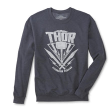 Marvel Thor Hammer Asgardian Warrior Men's Pullover Crew Sweatshirt, Charcoal Gray