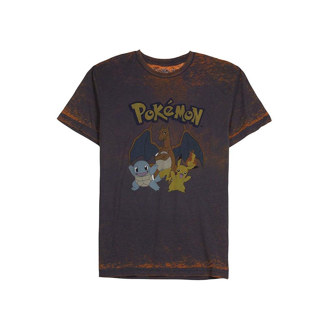 Pokemon Charizard Pikachu and Squirtle Graphic Men's T-Shirt, Orange Burnout