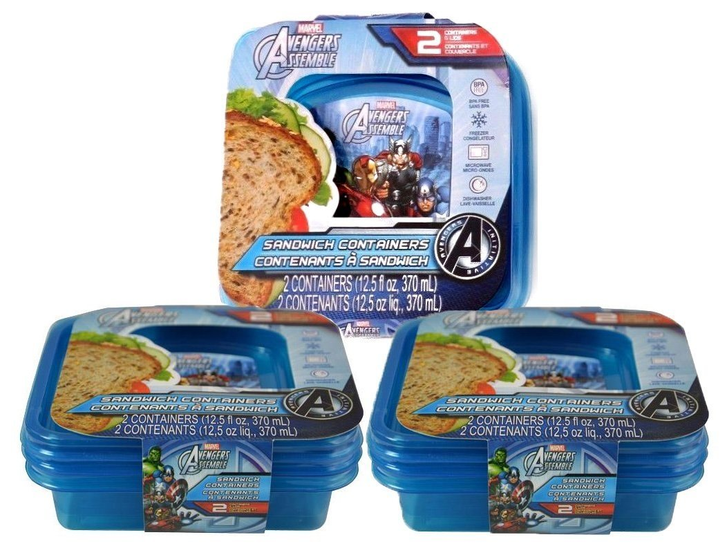 [6-Pack] Marvel Avengers Assemble Reusable Blue Sandwich Containers, BPA-Free