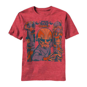 Star Wars Rebels Sky Crew Men's Distressed T-Shirt, Red Heather