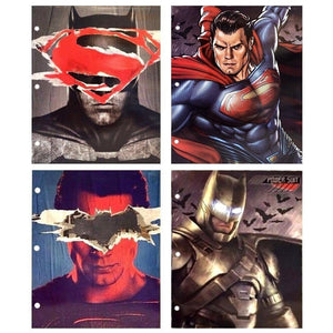[4-Pack] DC Comics Batman Superman Justice League 3-Ring Binder Portfolio Folders with Pockets