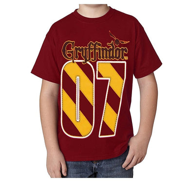 Harry Potter Youth/Kids T-Shirt Gryffindor Quidditch Team '07' MVP, Red/Gold Tee