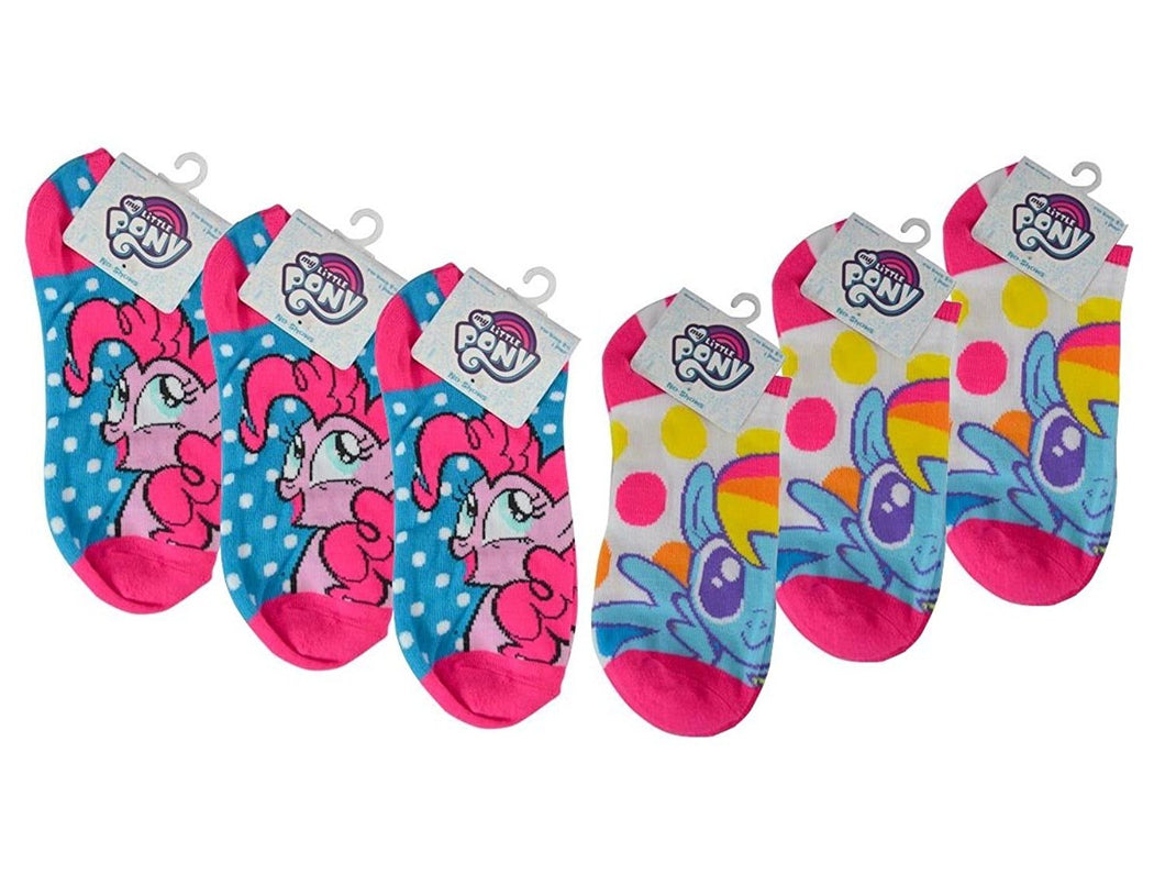 6-Pairs My Little Pony Girls No-Show Anklet Socks, Neon Polka Dot, Rainbow Dash & Pinkie Pie