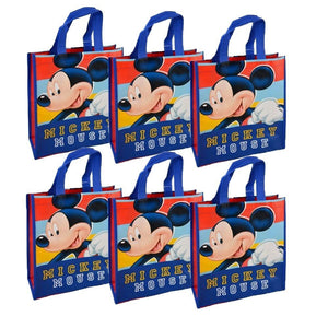 [6-Pack Set] Disney Mickey Mouse Reusable 12-inch Tote Bags with Handles, Party Favor Goodie Bags