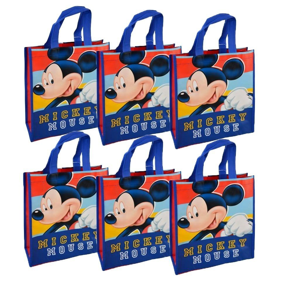 78536b1c96  6-Pack Set  Disney Mickey Mouse Reusable 12-inch Tote Bags with Handles