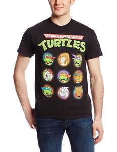 Teenage Mutant Ninja Turtles Classic 90s Cartoon Characters Men's T-Shirt, Black