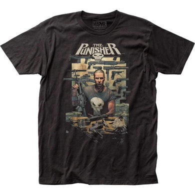 Marvel Comics The Punisher Mens Armory Fitted T-Shirt, Black