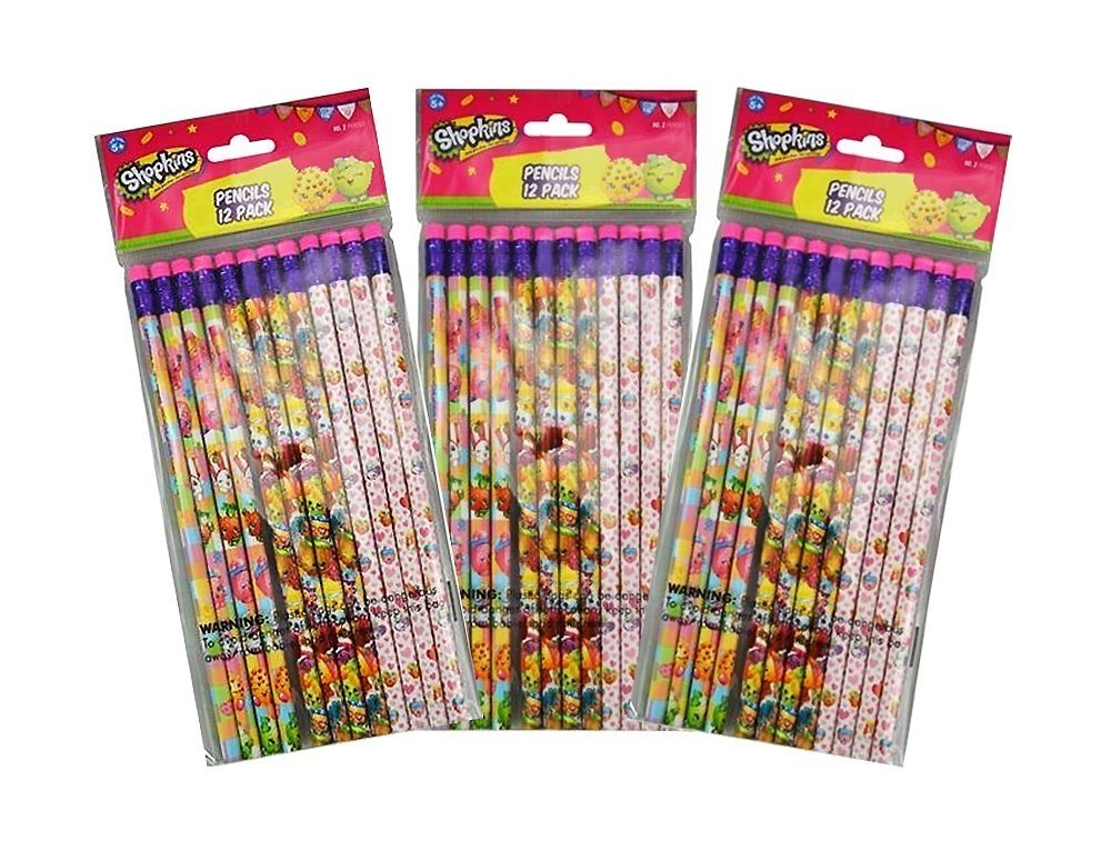 3-Pack Shopkins 12-count #2 Wood Pencils (36 Total)