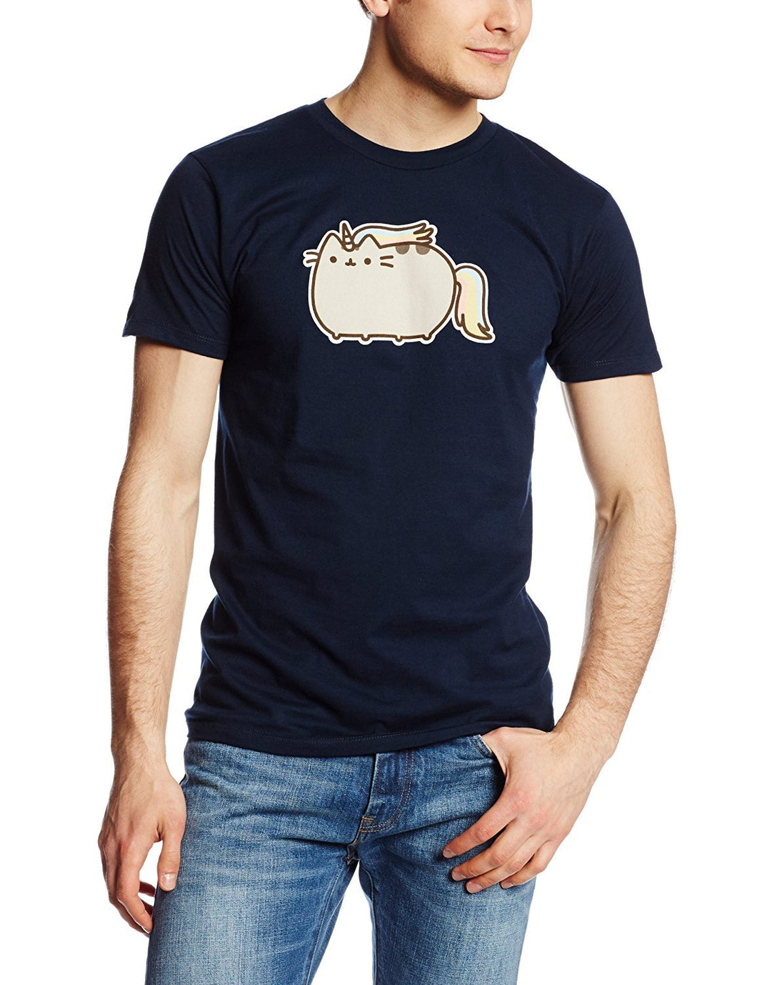 Isaac Morris Pusheen Rainbow Unicorn Cat Adult/Men's T-Shirt, Navy, Large