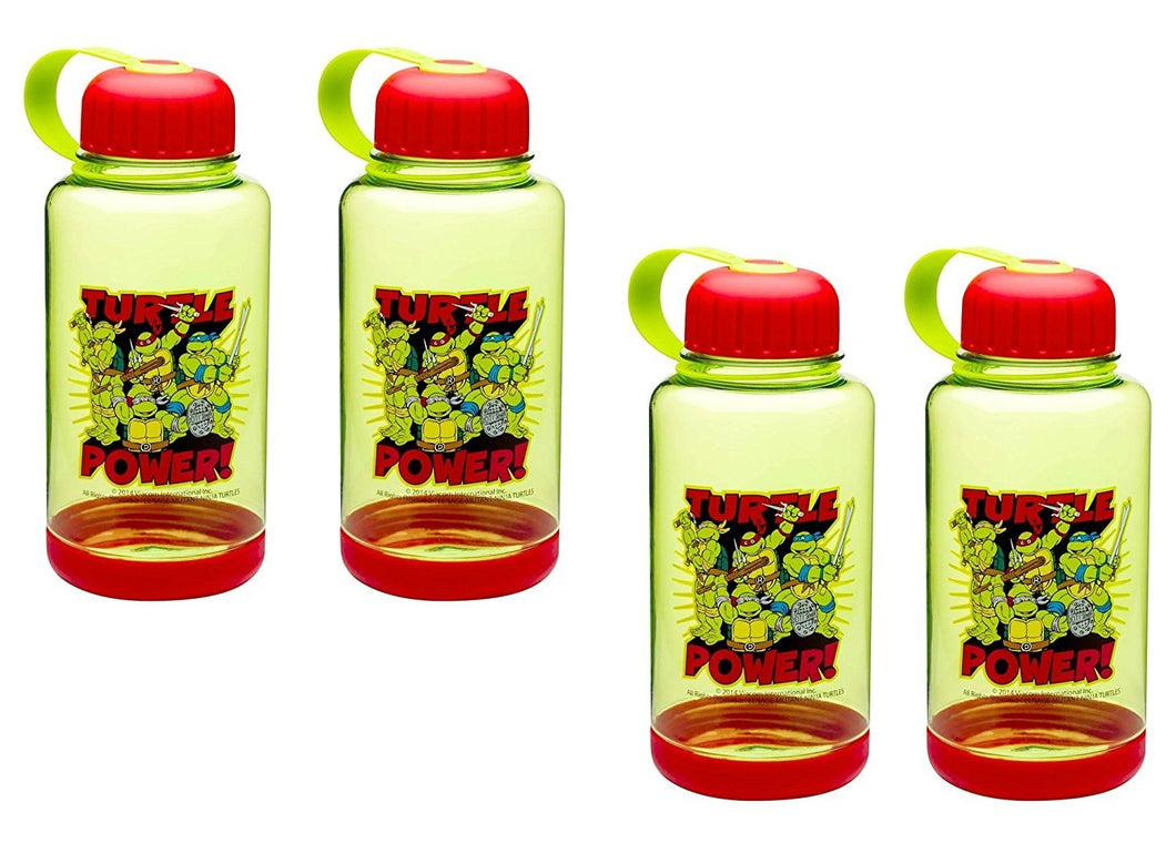 [4-Pack] Teenage Mutant Ninja Turtles 24oz Wide-Mouth Crescent Water Bottle with Grip Base