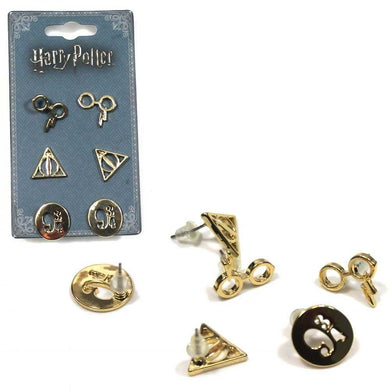 3-Pack Harry Potter Gold-Tone Stud Earrings: Harry's Glasses, Deathly Hallows, Platform 9 3/4