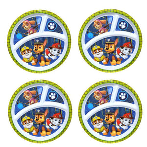 "[4-Pack] Paw Patrol 8"" 3-Section Melamine Plastic Reusable Kids Plates, BPA-Free"
