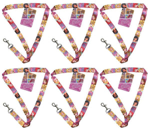 "[6-Pack] Disney Princess 18"" Pink Lanyard with Keychain Clasp"
