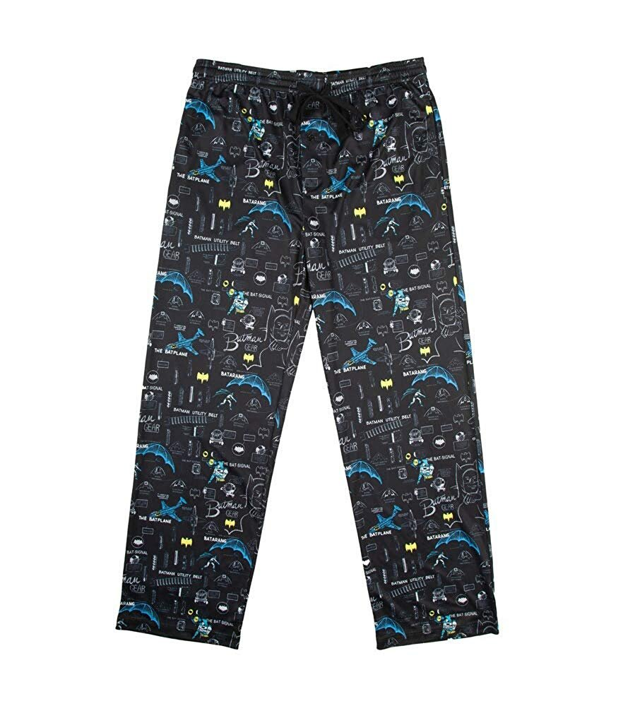 DC Comics Classic Batman Gadgets Men's Sleep Lounge Pants, Black