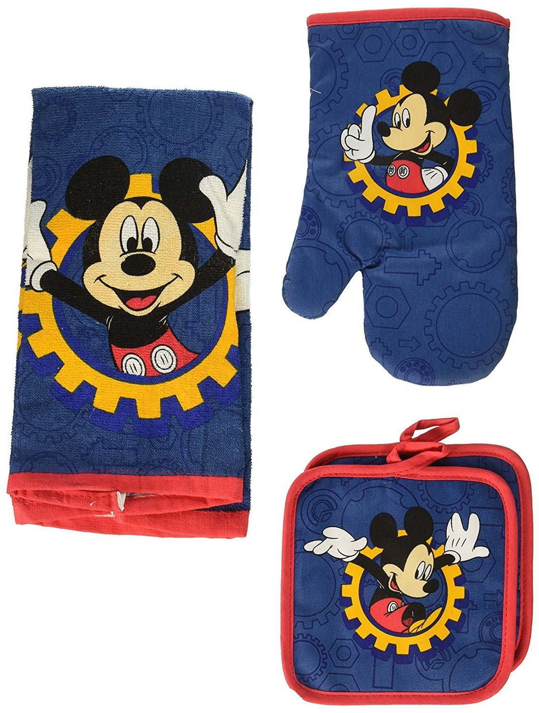 Disney Mickey Mouse Blue Gear 4-pc Kitchen Set: Towel, Oven Mitt & 2 Pot Holders