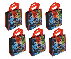 [6-Pack] DC Comics Justice League Reusable 12-inch Tote Gift Bags, Party Set