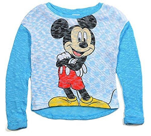 Classic Disney Mickey Standing Youth Girls Hi-Lo Sweater Top, Blue