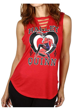 Harley Quinn Junior's Tank Top Sleeveless T-Shirt with Shirttail Hem, Red