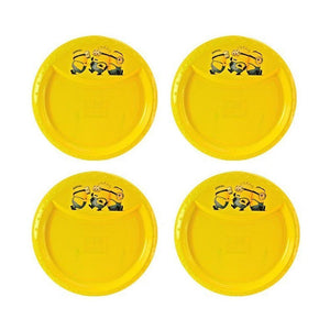"4-Pack Minions BPA-Free Plastic Reusable Kids 8.5"" Decal Rim Plate, Yellow"