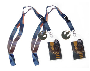 [2-Pack] Star Wars Rebel Alliance Lanyard/Keychain with Detachable ID Holder, Claw Clasp, Sticker & Charm
