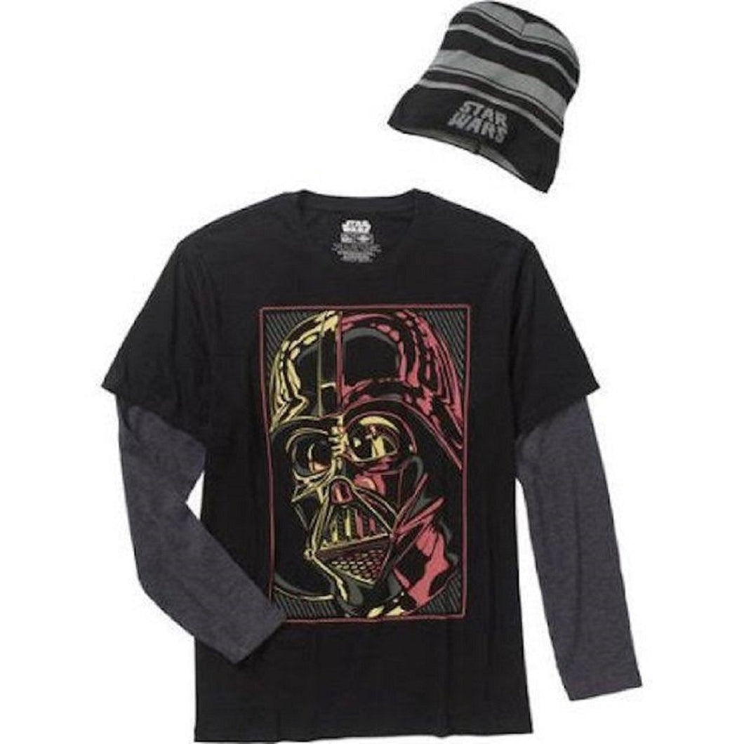 Star Wars Stylized Darth Vader 2-fer Long-Sleeve T-Shirt with Beanie Hat, Men's Large