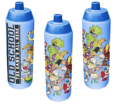 [3-Pack] Nickelodeon 90s Rewind Cartoons 24.5oz Riff Sports Water Bottle, BPA-Free