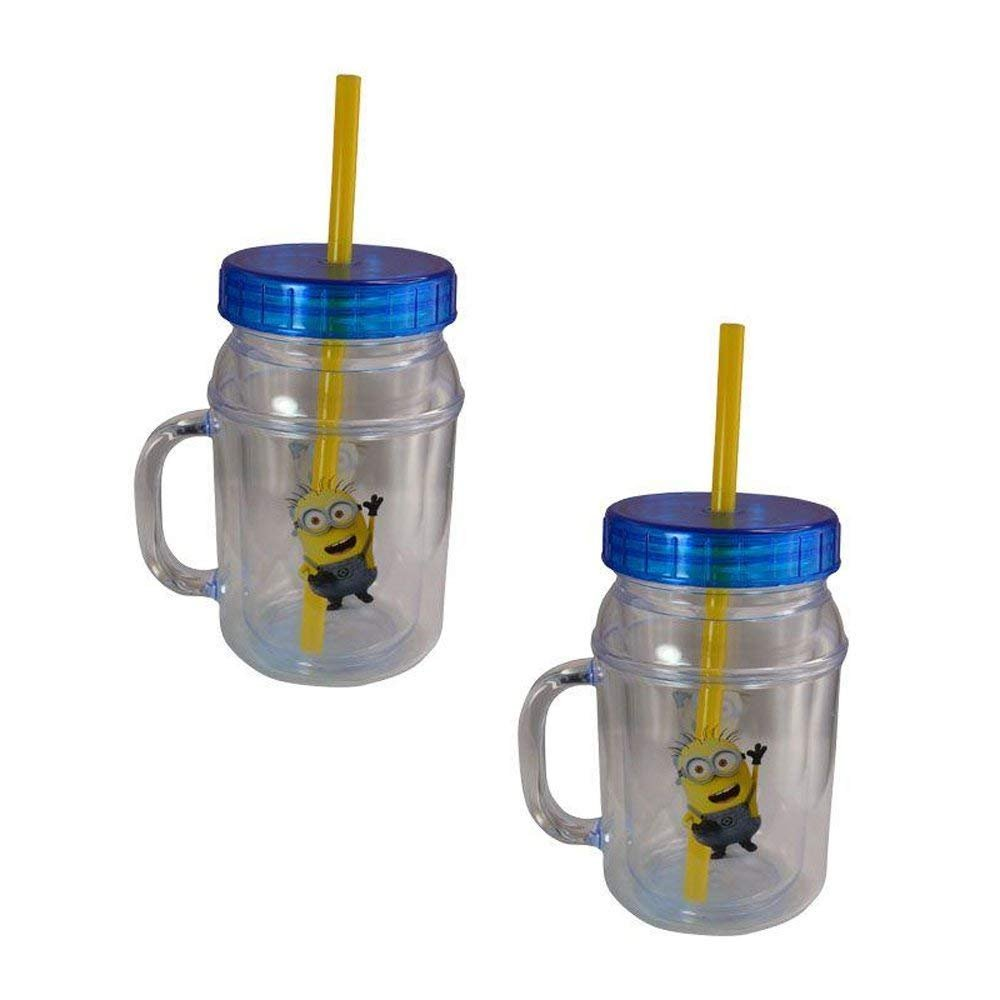 2-Pack Despicable Me Minions Canning Jar 12oz Drink Tumbler w/ Lid & Straw