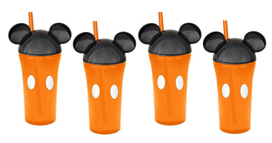 4-Pack Disney Mickey Mouse 13oz Travel Tumbler Orange Cups with Ear Lids & Straws