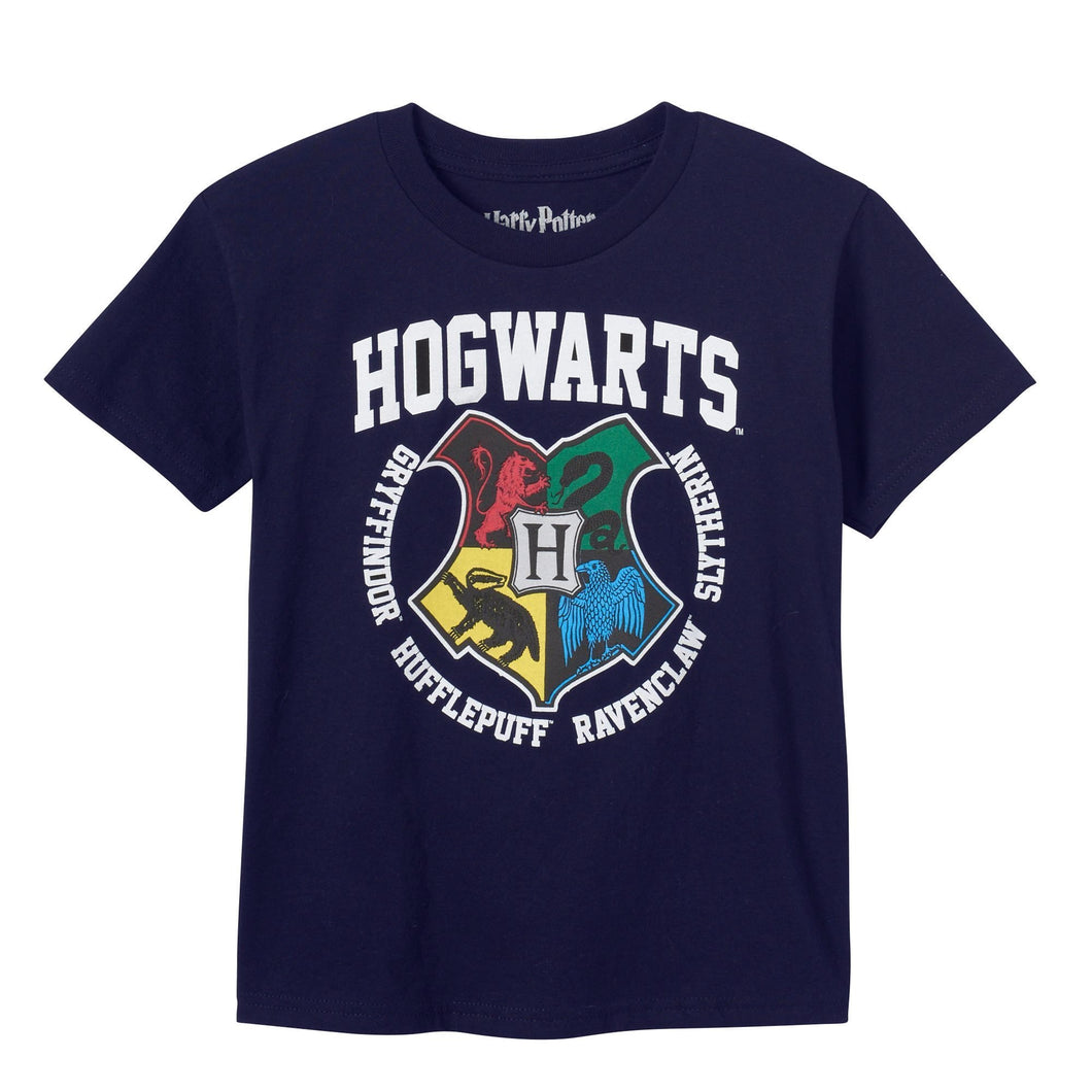 Harry Potter Hogwarts Crest Houses Toddler T-Shirt, Navy Boys Girls