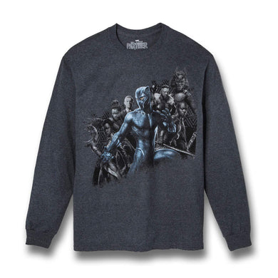 Marvel's Black Panther Group 2-Sided Graphics Long-Sleeve Men's T-Shirt, Gray