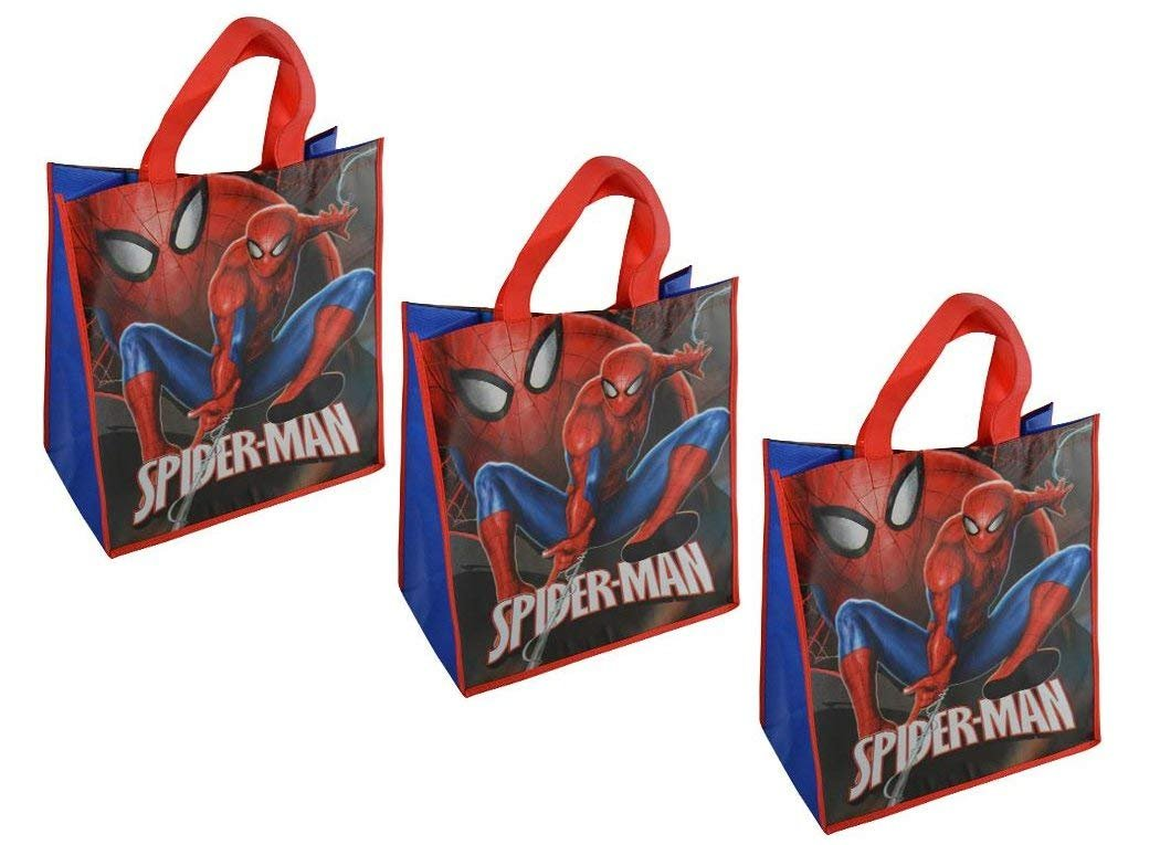 [3-Pack Set] Marvel Spider-Man Large 15.5-inch Reusable Shopping Tote or Gift Bag
