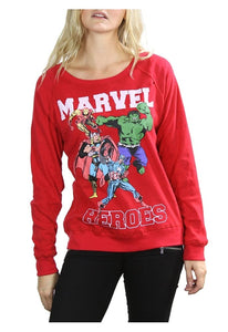 Classic Marvel Comics Heroes Juniors Reversible Long-Sleeve Pullover Sweatshirt Tee, Red