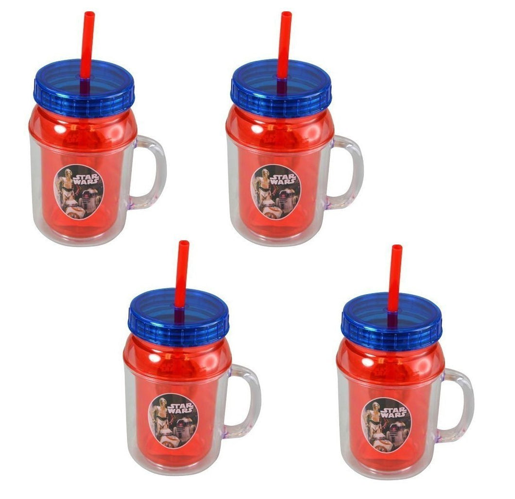 4-Pack Star Wars Droids 12oz Canning Jar Double-Wall Tumblers with Lids and Straws