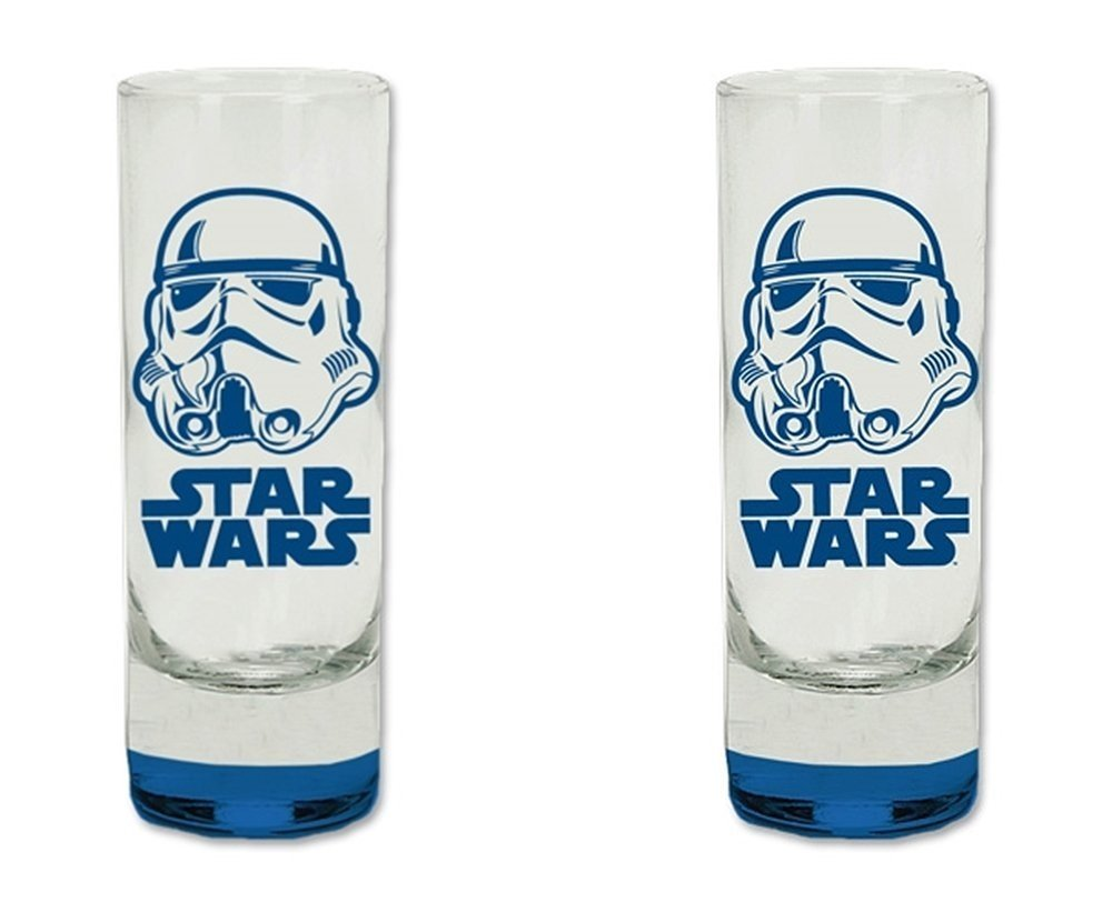2-pc Set Star Wars StormTrooper Colored Bottom Glass Tall Shot Glasses